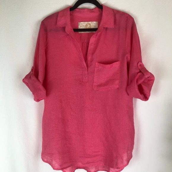 Bella Dahl Hot Pink Linen Tunic w/ Tab Sleeves